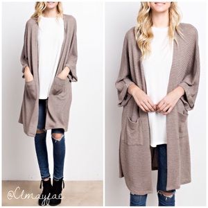 Sweaters - New Waffle Knit Latte Cardigan/Duster